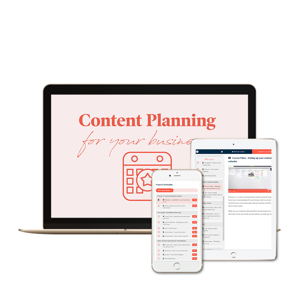 Content planning for business course