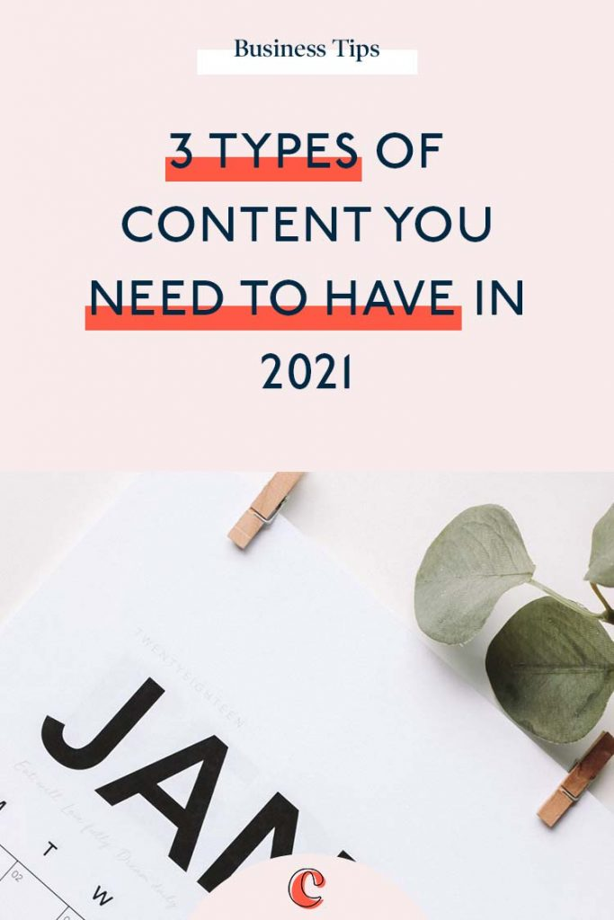 3 Types of content you need to have in 2021 | Content Clarity | Content marketing strategy has come a long way since the internet first started. Just having a presence on a website was 'enough' to sustain your business. But fast forward to 2020 and it's a whole new ball game. But that doesn't mean it has to be difficult or stressful… Heck no! I'm going to tell you the 3 types of content you need to be doing in 2021 to stand out online and drive your business forward.